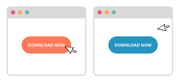 an image depicting two browser windows illustrating an a/b test - variant a has an orange 'download now' button and variant b has a teal coloured 'download now' button
