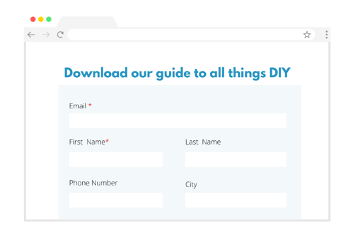 An example of a landing page with a form on it
